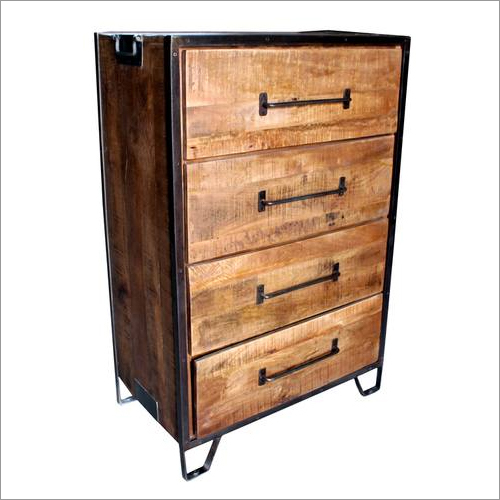 Wood Metal chest drawer