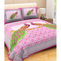 Printed Peacock Pink Bed Sheet