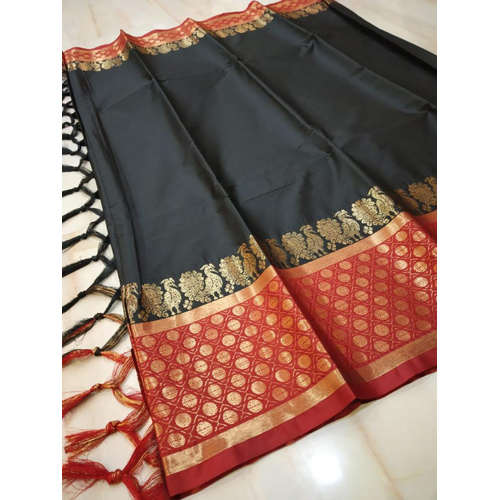 Black Peacock Cotton Silk saree