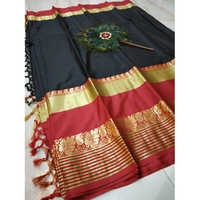 Ladies Zari Border Cotton Silk Saree
