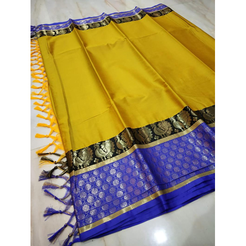 Peacock Polka Dot Zari Cotton silk Saree