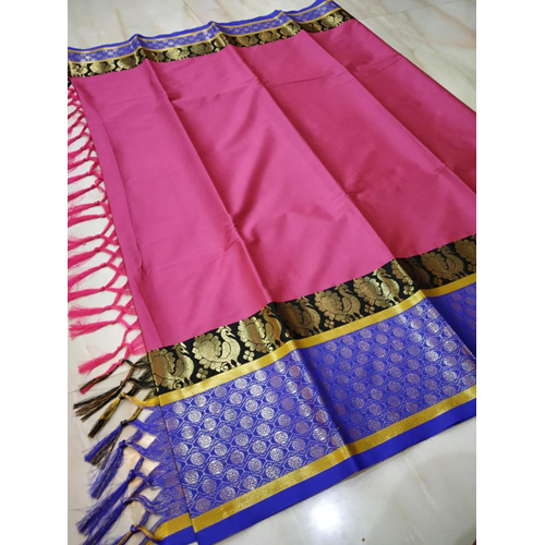 Pink Polka Dots Zari Border Cotton silk saree