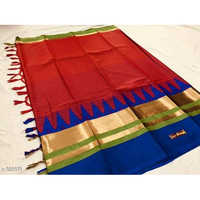 Red Zari Border Cotton Silk Saree