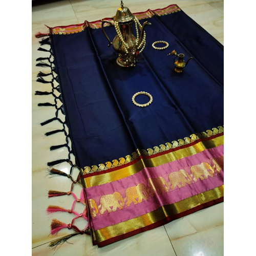 Savanna Elephant Cotton Silk Saree