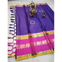Savanna Elephant Zari Border Cotton Silk Saree