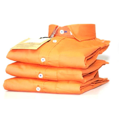 Mens Orange Plain Shirt