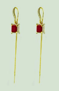 Ruby Thread Earring