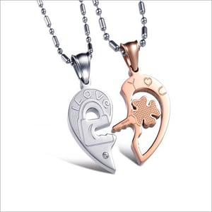 Lovers Heart Two Piece Couple Pendant Pair