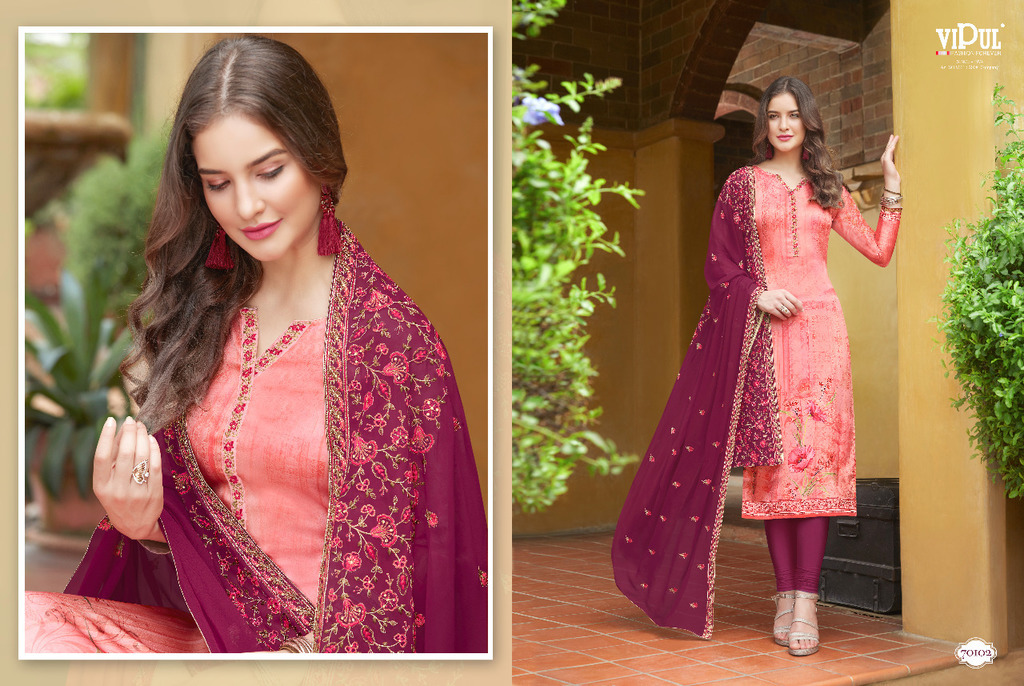 Unstitched Embroidered Silk Suits