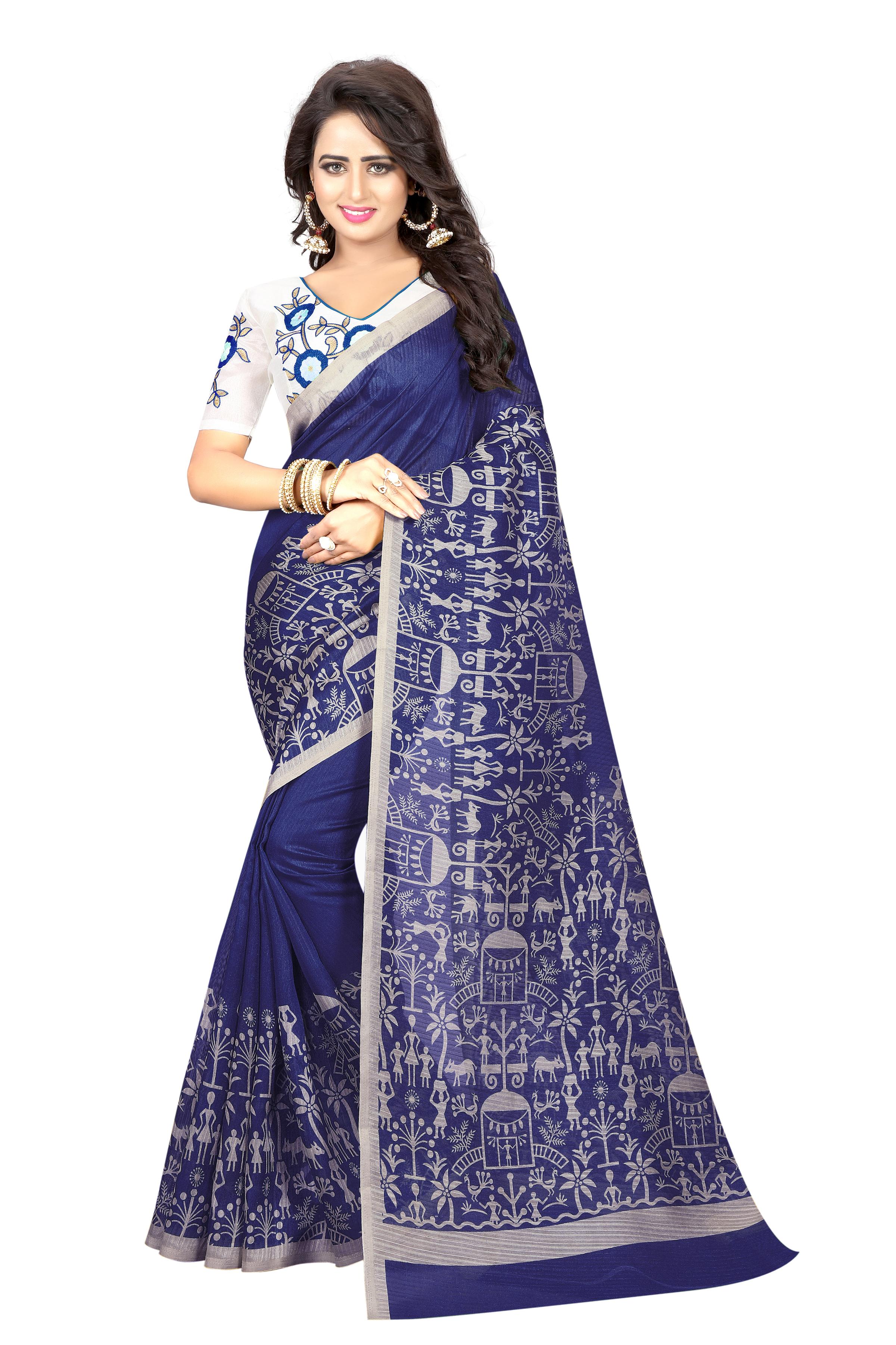 Heavy Embroidery Silk Saree