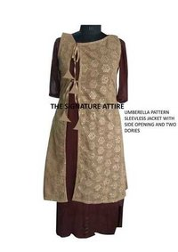 Chiffon Kurti with Jute Jacket