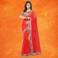 Fancy Chanderi Saree With Lace
