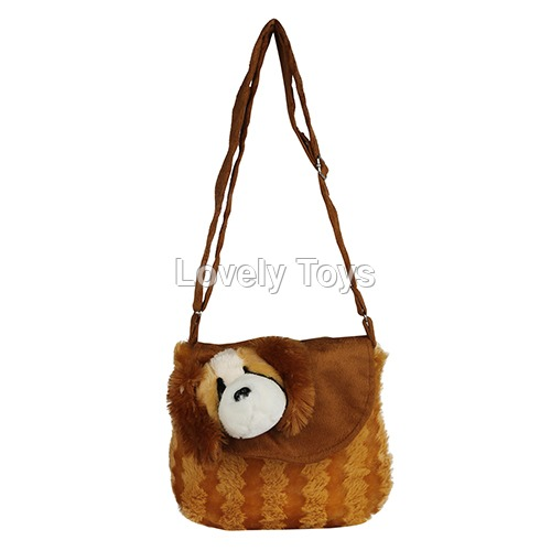 Brown Kids Soft Sling Synthetic Bag