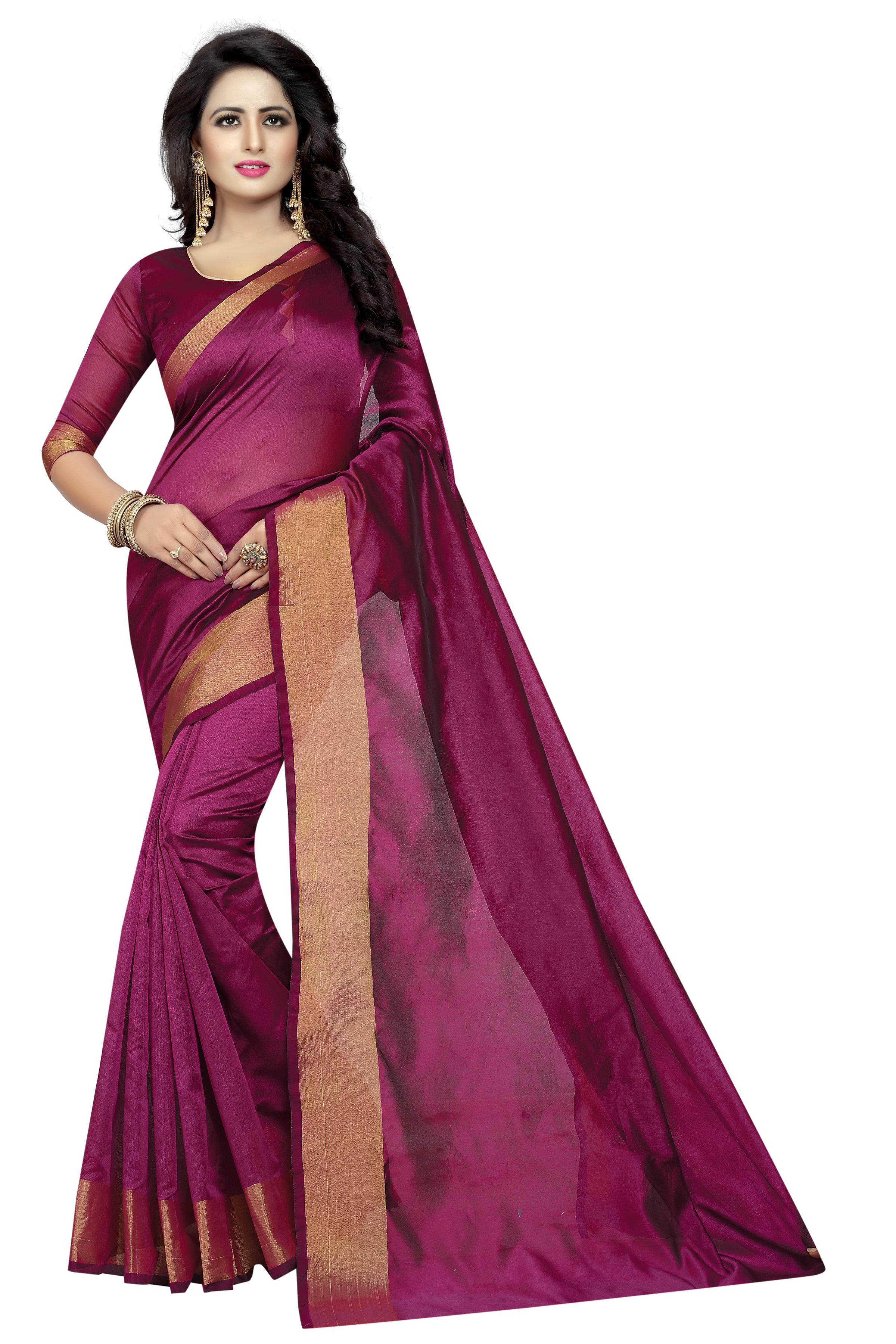 New Cotton Silk Saree with Golden Border
