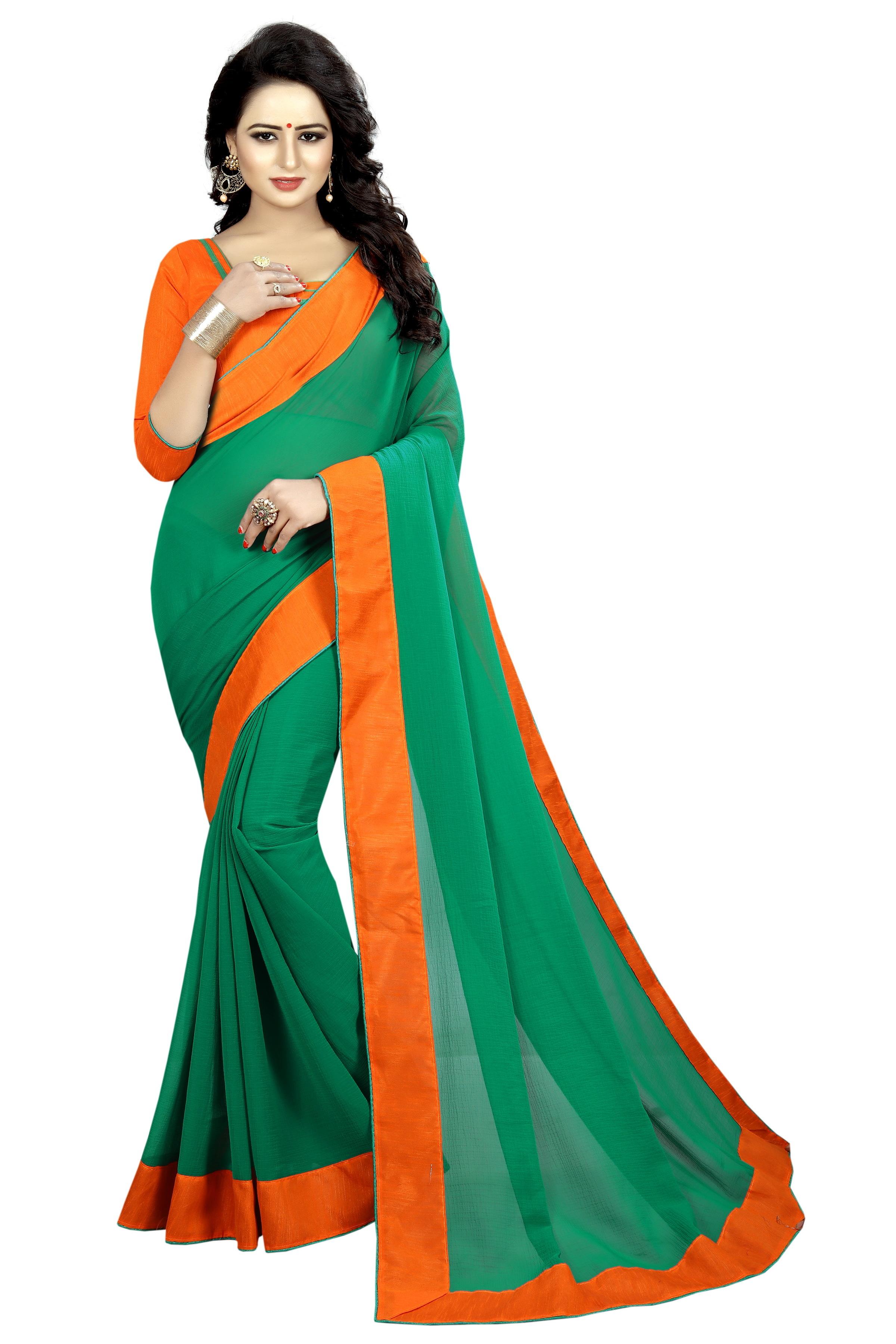 Chiffon Saree with Contrast Border