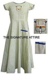 Pure Cotton Umbrella dress with trendy handwork