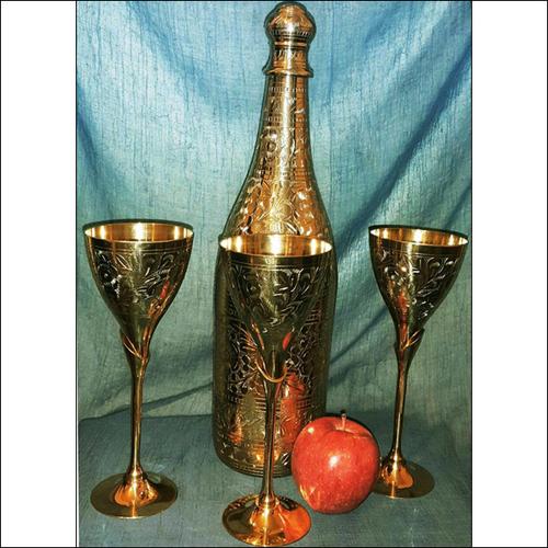 Brass Bottle Glass Set