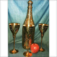 Brass Bottle Glass Set
