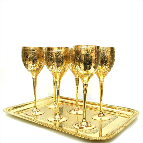 Brass Cup Tray Set