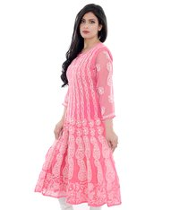 Lucknow Chikan Anaarkali Gown