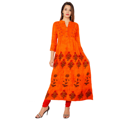 Lakbi Batik Print Orange Flared Kurti