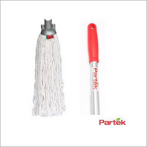 Partek Round Cotton Mop 140 Cm Aluminum Handle With Grip White RCTNM01 AH05