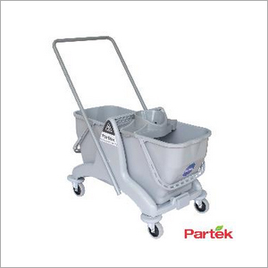 Partek Eco 50 Double Bucket Mopping Trolley With Round Wringer DB50R