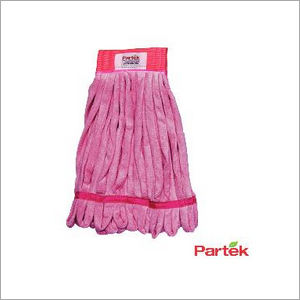 Partek Lito Microfiber String Mop With Scrub Band 500 Washes Red LMMH200N R