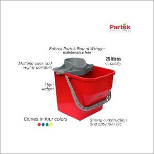 Partek Robin Bucket 25 Liters + Round Mop Wringer Squeeze Red PB25RW R