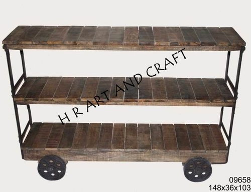 ANTIQUE WOODEN TROLLY