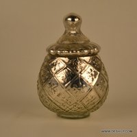 Stylish Silver Glass Jar