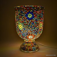 GLASS MOSAIC TABLE LAMP, DECORATED GLASS MOSAIC TABLE LAMP