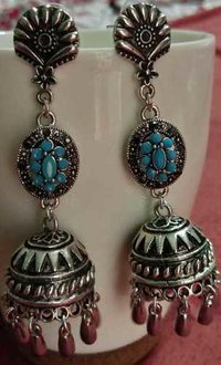 Flower Metal Jhumki