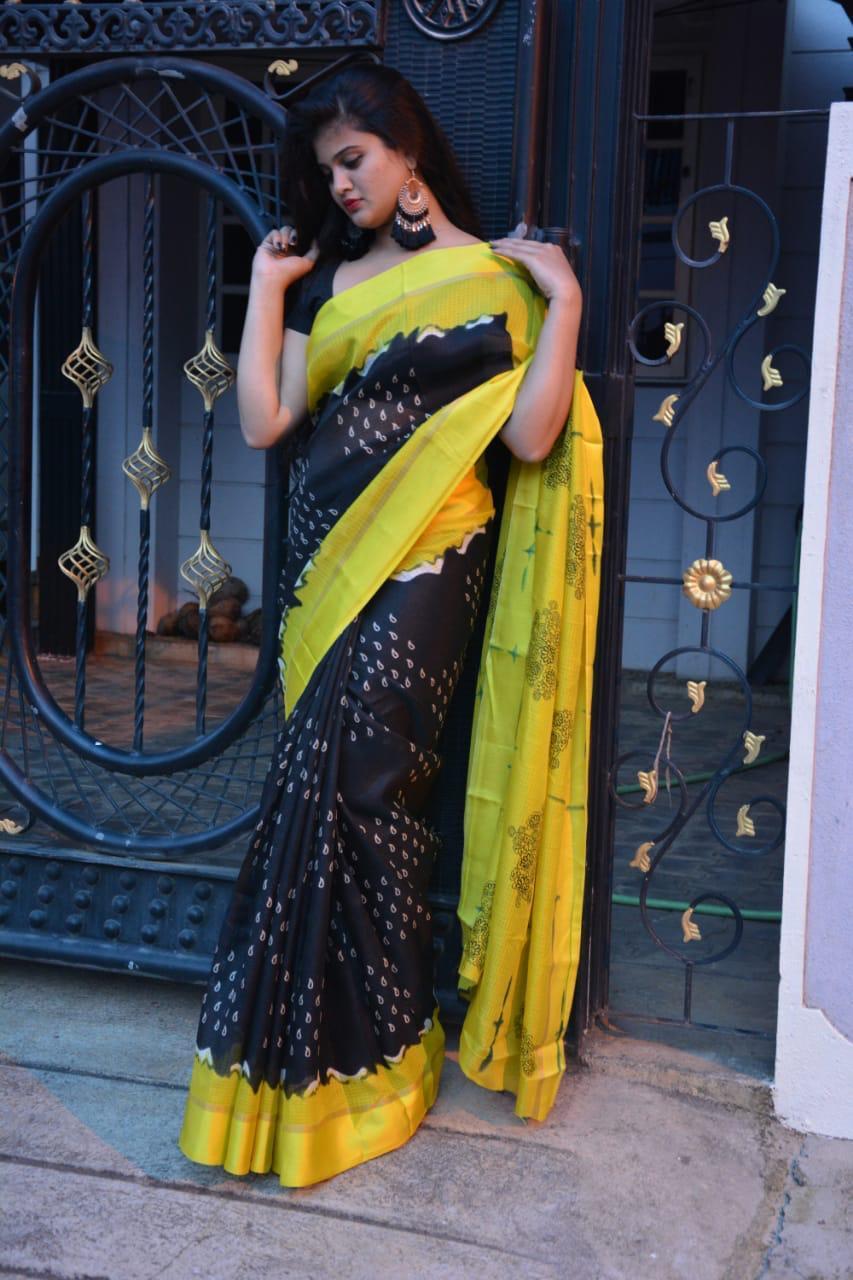 super soft Kota cotton sarees with satin borders (DNHSILK12)