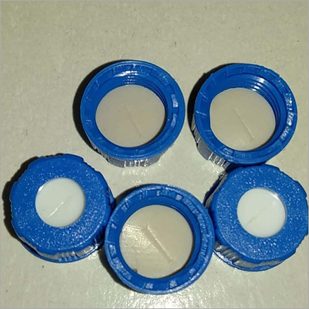 Blue Screw Cap 9mm Tan Pre Slit PTFE Silicon Septa