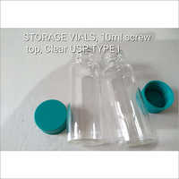Storage VIALS , 10ml Screw Top Clear USP Type I