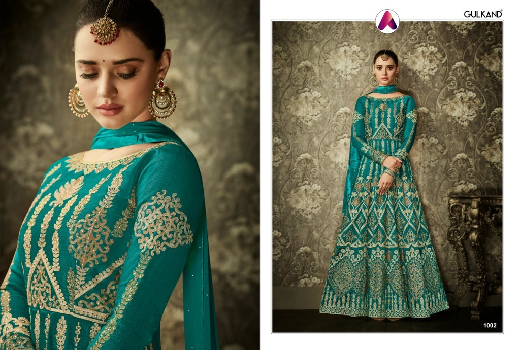 Embroidered Anarkali Silk Suits