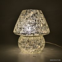 SILVER GLASS TABLE LAMP, SML Glass Table Lamp, Decorated lamp Antique glass mosaic table lamp showpiece