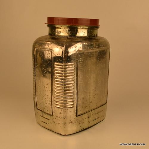 Jar Decorative Glass Jars Suction Glass Jar with lid, Silver Glass Jar With Screw Cap