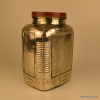Jar Decorative Glass Jars Suction Glass Jar with lid, Silver Glass Jar With Screw Cap