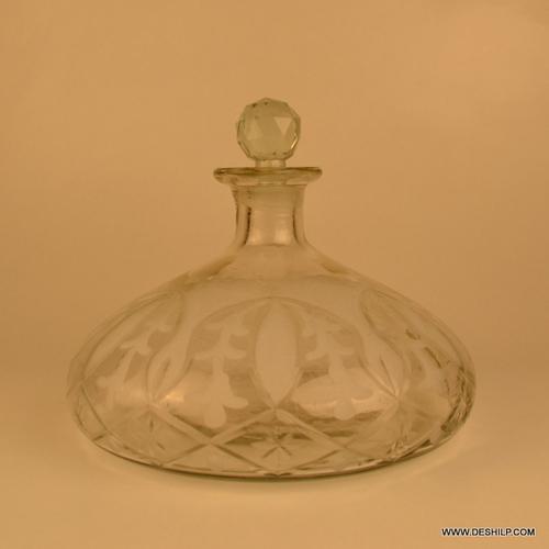 Clear Glass Decanter, Antique Unique Glass Clear Decanter, Perfume Bottle Glass Amber Decanters