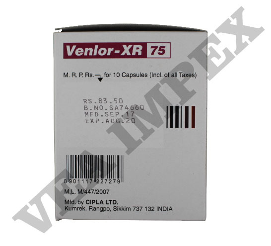 Venlor XR 75 Capsules(Prolonged Release)