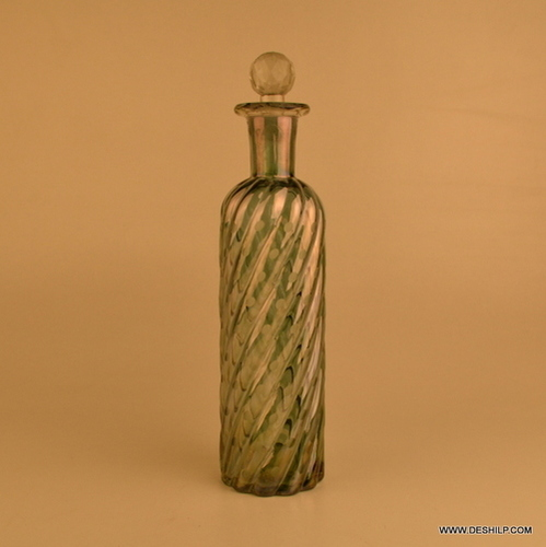 GREEN LUSTER COLOR GLASS DECANTER WITH STOPPER, GLASS LONG GLASS CUTTING DECANTER