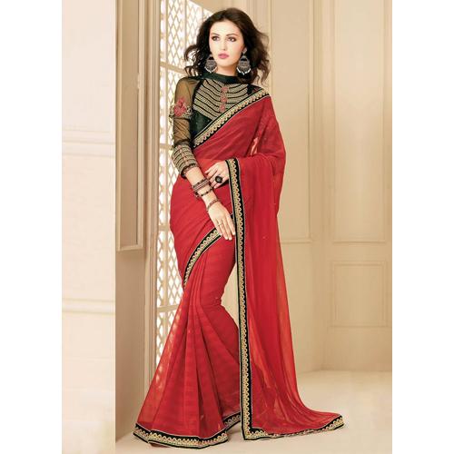 Ladies Red Faux Chiffon Saree