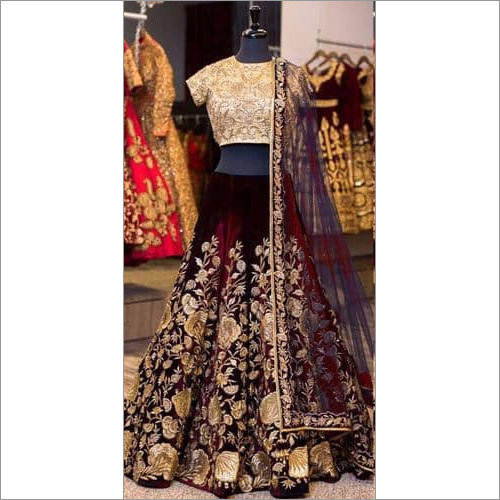Navy Blue Velvet Embroidered Lehenga Set With blue Net Dupatta.