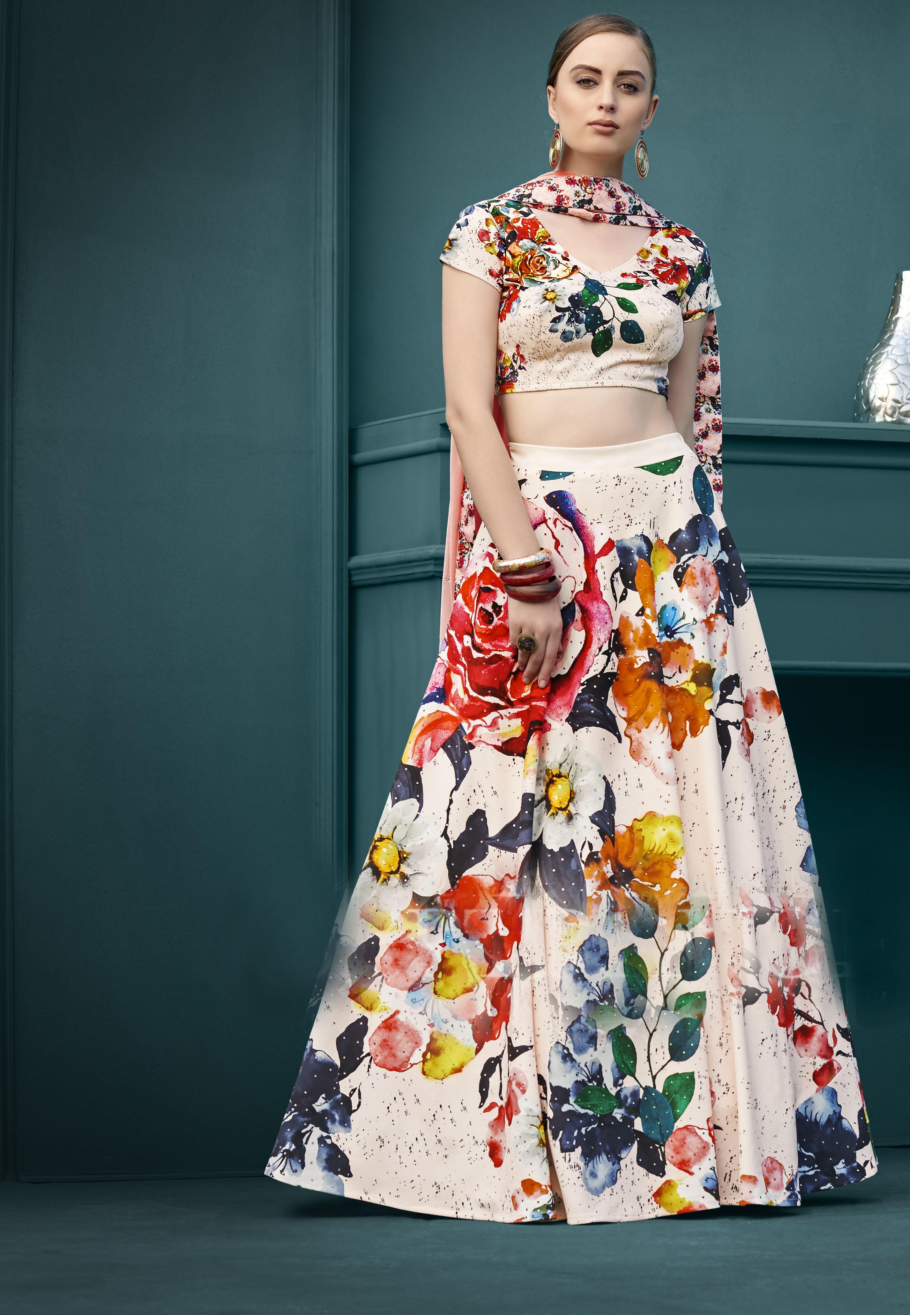 Digital Printed Gown & Lehenga