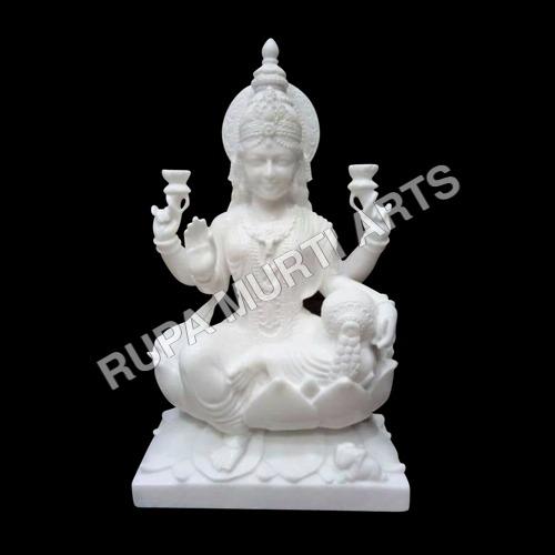 White Marble Laxmi Sitting Statue