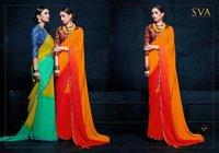 Fancy Plain Sarees With Print Blouse