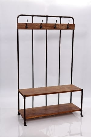 Wooden Table with Hanging Hooks