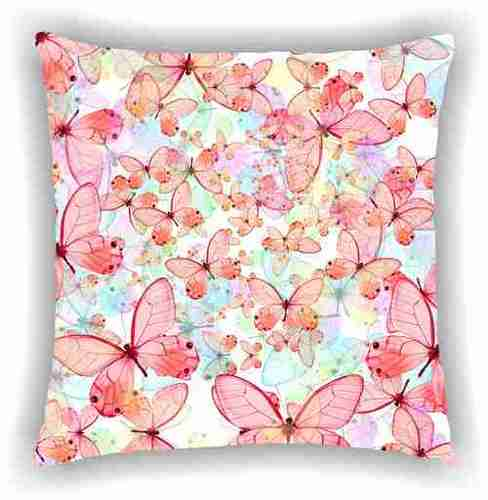 Digital Printed Floral Pink Butterflies Design Cushion Cover